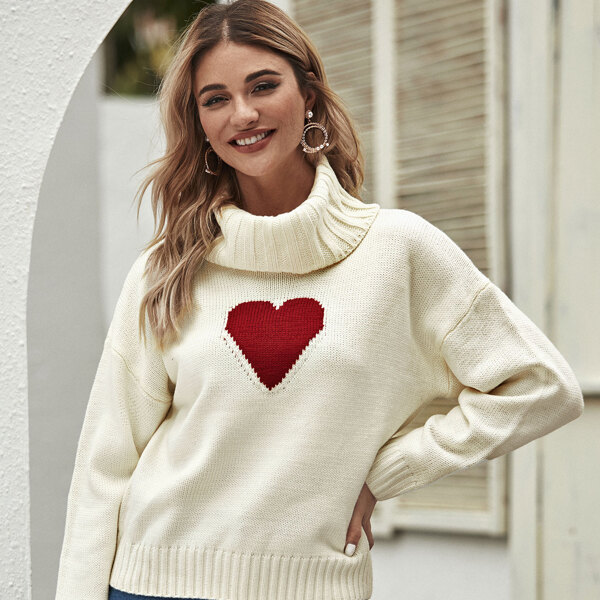 Heart Print High Neck Sweater, Beige