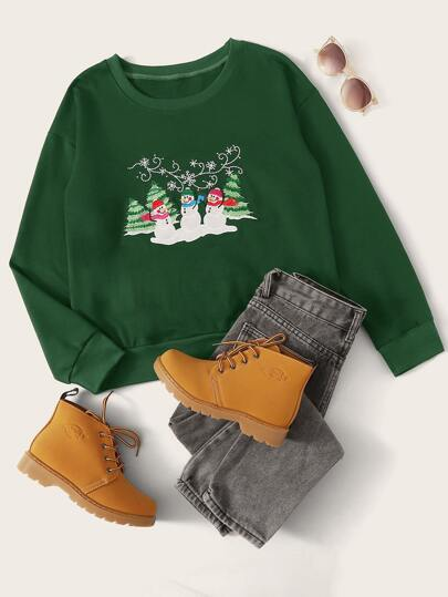 Christmas New Year Snowmen Patched Round Neck Sweatshirt