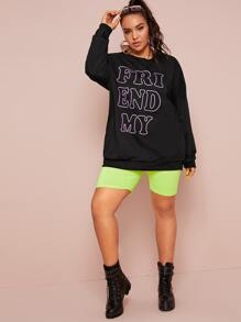 Plus Letter Graphic Drop Shoulder Sweatshirt