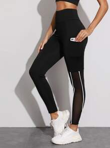 Mesh Panel Contrast Piping Phone Pocket Leggings