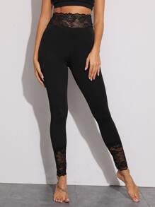 Lace Panel Wind-band Waist Leggings