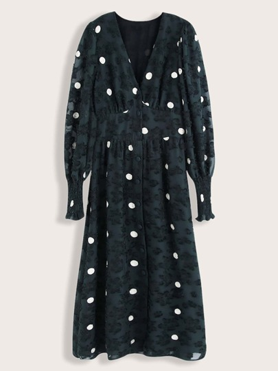 Polka Dot Shirred Cuff Dress