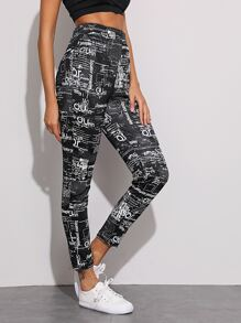 Graphic Print High Waist Cropped Leggings