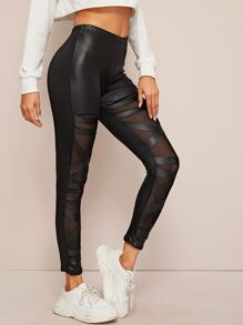 Mesh Panel Skinny PU Leather Leggings
