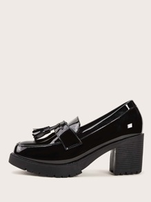 Tassel Decor Patent Chunky Heeled Loafers