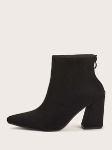 Point Toe Zip Back Chunky Boots