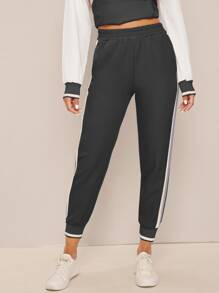 Side Striped Elastic Waist Sweatpants