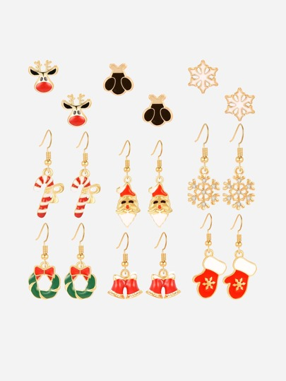 9pairs Christmas Bell & Snowflake Shaped Earrings