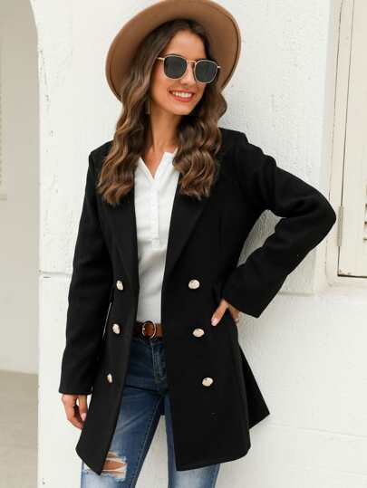 Tweed Solid Lapel Neck Pea Coat