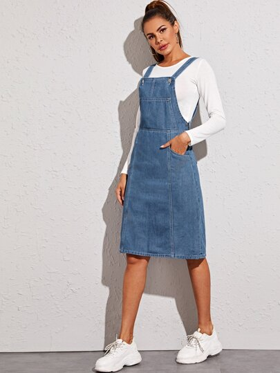 Pocket Side Split Back Dungaree Dress