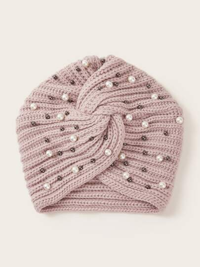 Faux Pearl & Bead Decor Turban Hat
