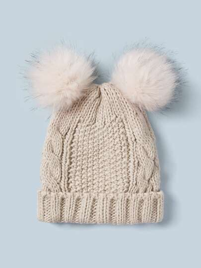 Pom Pom Decor Knit Beanie