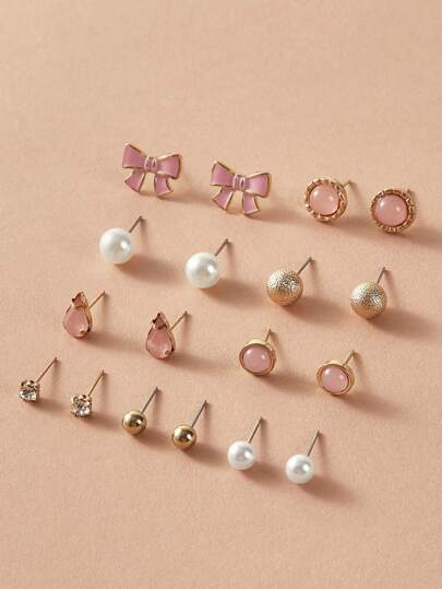 9pairs Faux Pearl & Rhinestone Decor Stud Earrings