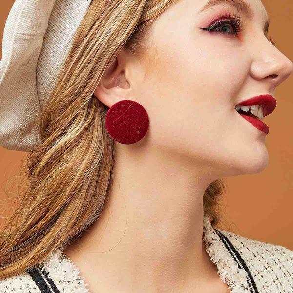 1pair Velvet Round Earrings, Burgundy