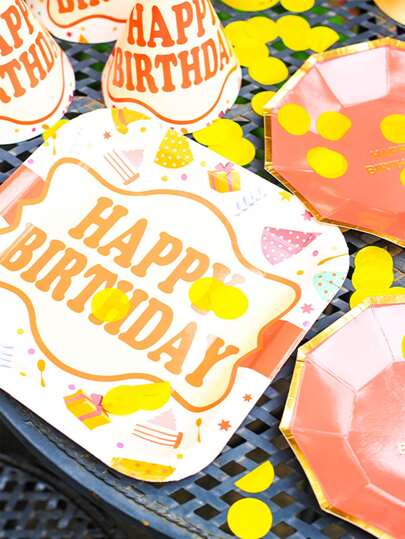 8pcs Disposable Birthday Cake Plate
