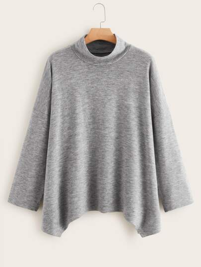 Plus Drop Shoulder Asymmetrical Hem Sweater