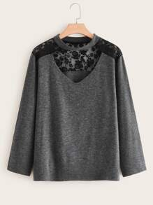 Plus Contrast Lace Space Dye Sweater