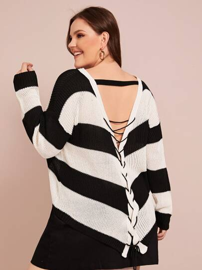Plus Color-block Striped Lace Up Sweater