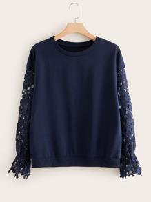 Plus Contrast Guipure Lace Drop Shoulder Sweatshirt