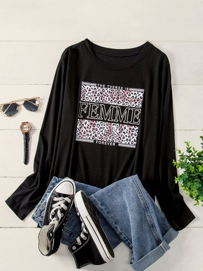 Plus Letter Graphic Long Sleeve Tee