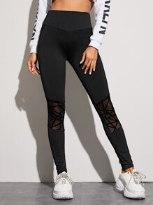 Solid Contrast Mesh Wide Waistband Leggings
