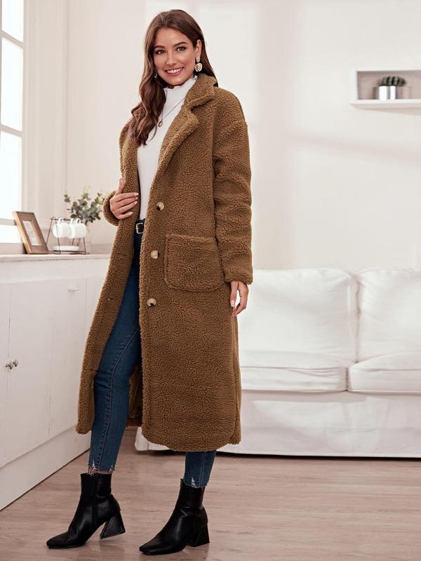 Solid Button Through Teddy Longline Coat by Sheinside
