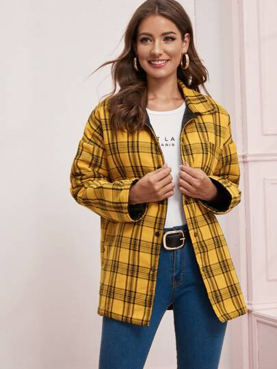Plaid Print Button Front Coat