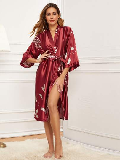 Feather Print Satin Belted Robe