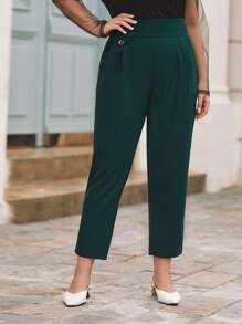 Plus Wide Band Waist Straight Pants