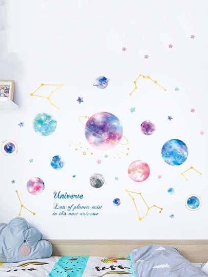 Colorful Planet Print Wall Sticker