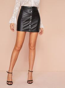 Popper Front Fitted Mini PU Skirt