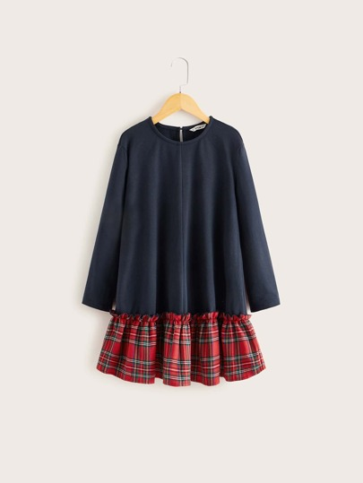 Girls Colorblock Tartan Ruffle Hem Dress