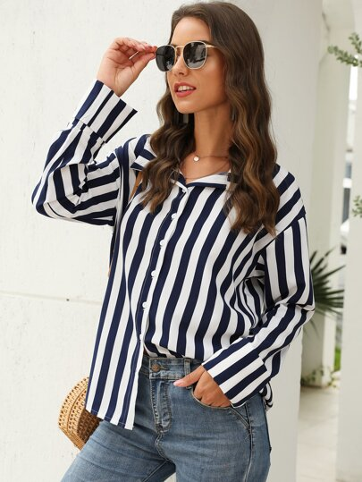 Striped Button Up Curved Hem Blouse