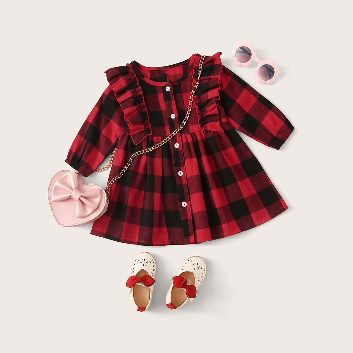 Платье в клетку с пуговицами и оборками без сумки для девочек от SHEIN