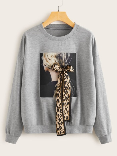 Figure Graphic Tie Front Sweatshirt