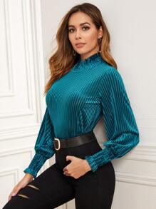 Velvet Frill Trim Shirred Cuff Blouse