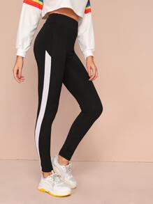 Contrast Panel Elastic Waist Leggings
