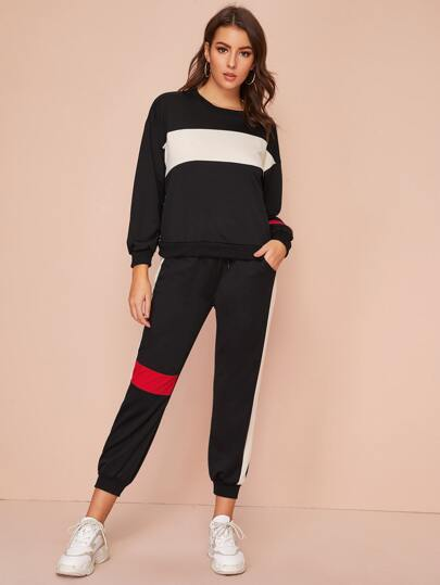 Contrast Panel Sweatshirt & Drawstring Waist Sweatpants