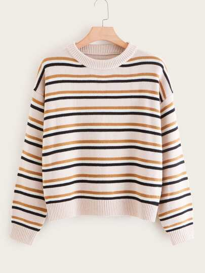 Plus Multi-Striped Drop Shoulder Sweater