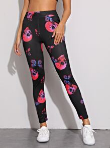 Halloween Skull & Butterfly Print Leggings