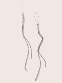 1pair Faux Pearl Decor Rhinestone Long Strip Drop Earrings