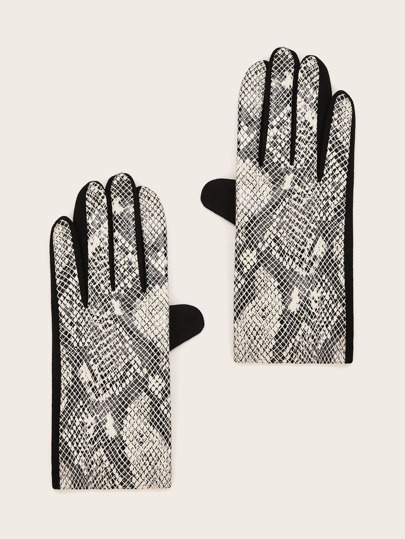 1pair Snakeskin Pattern Gloves