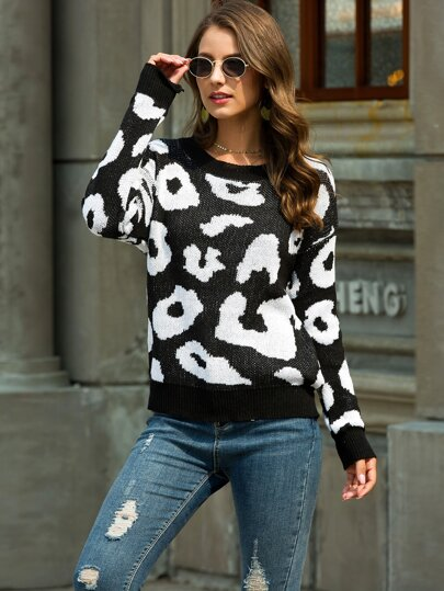 Graphic Print Drop Shoulder Sweater