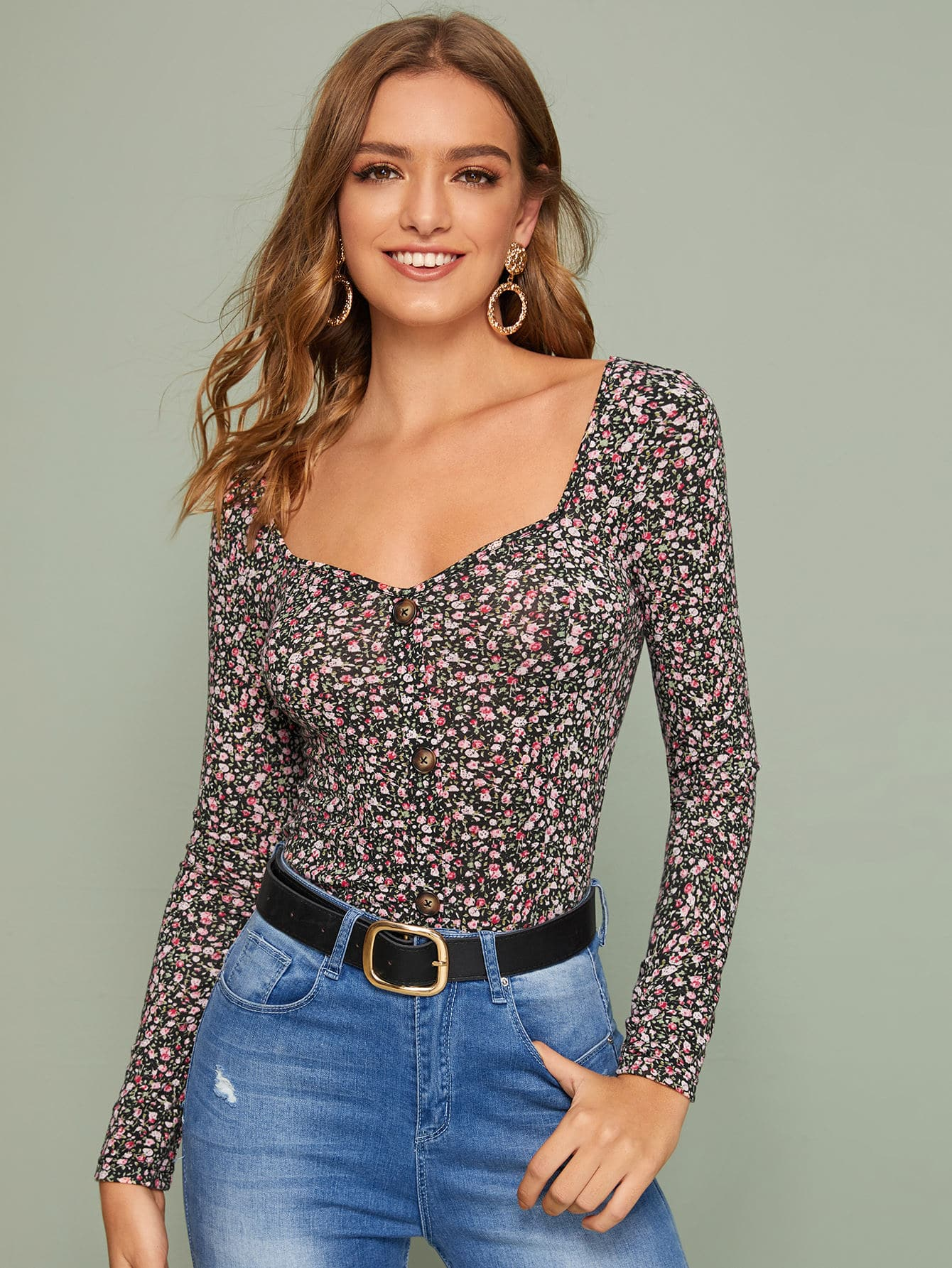 Ditsy Floral Sweetheart Neck Fitted Tee thumbnail