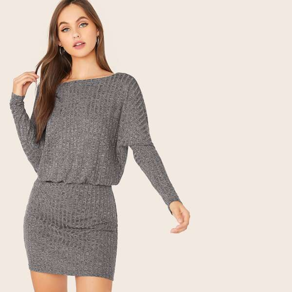 Dolman Sleeve Rib-knit Blouson Dress, Grey