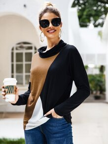 Contrast Panel Cowl Neck Tee