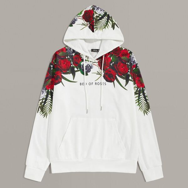Men Rose and Slogan Graphic Pocket Front Hoodie, White
