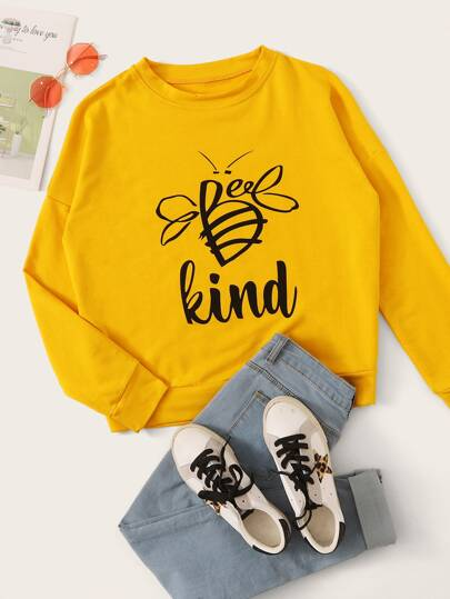 Bee And Letter Graphic Sweatshirt