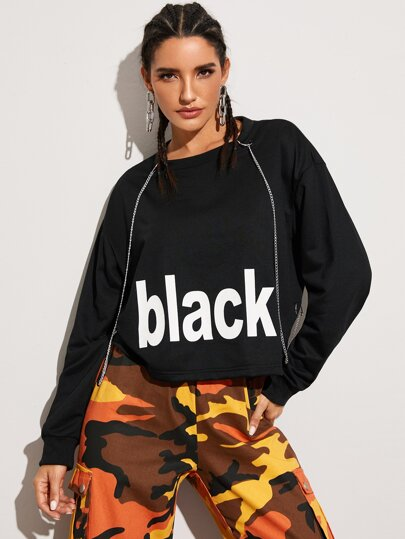 Letter Graphic Oversized Sweatshirt With Chain