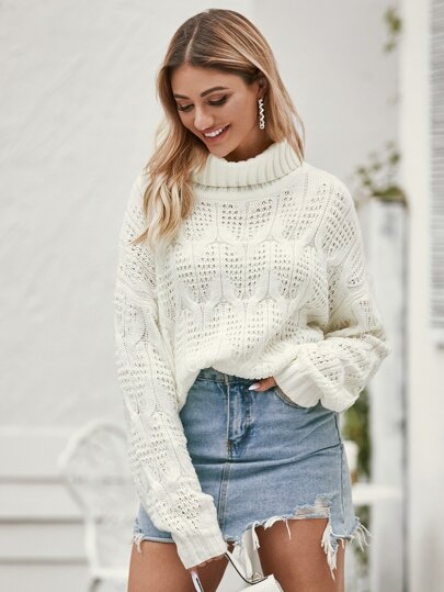 Funnel Neck Pointelle Knit Sweater